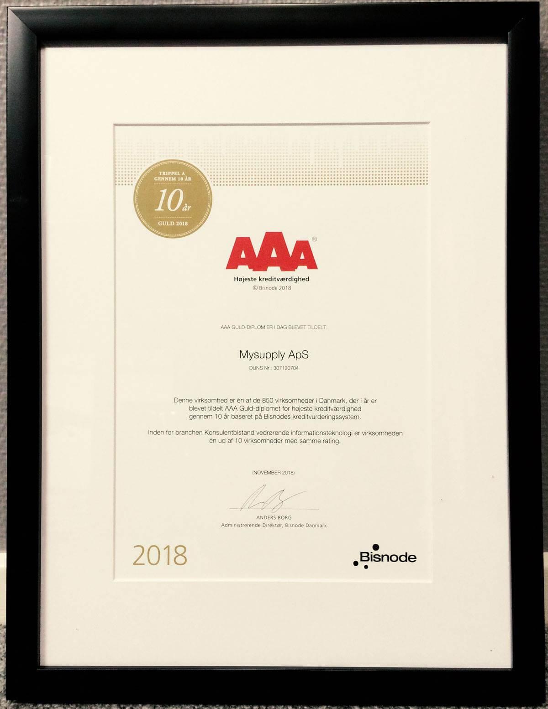 mySupply har fået et AAA guld-diplom