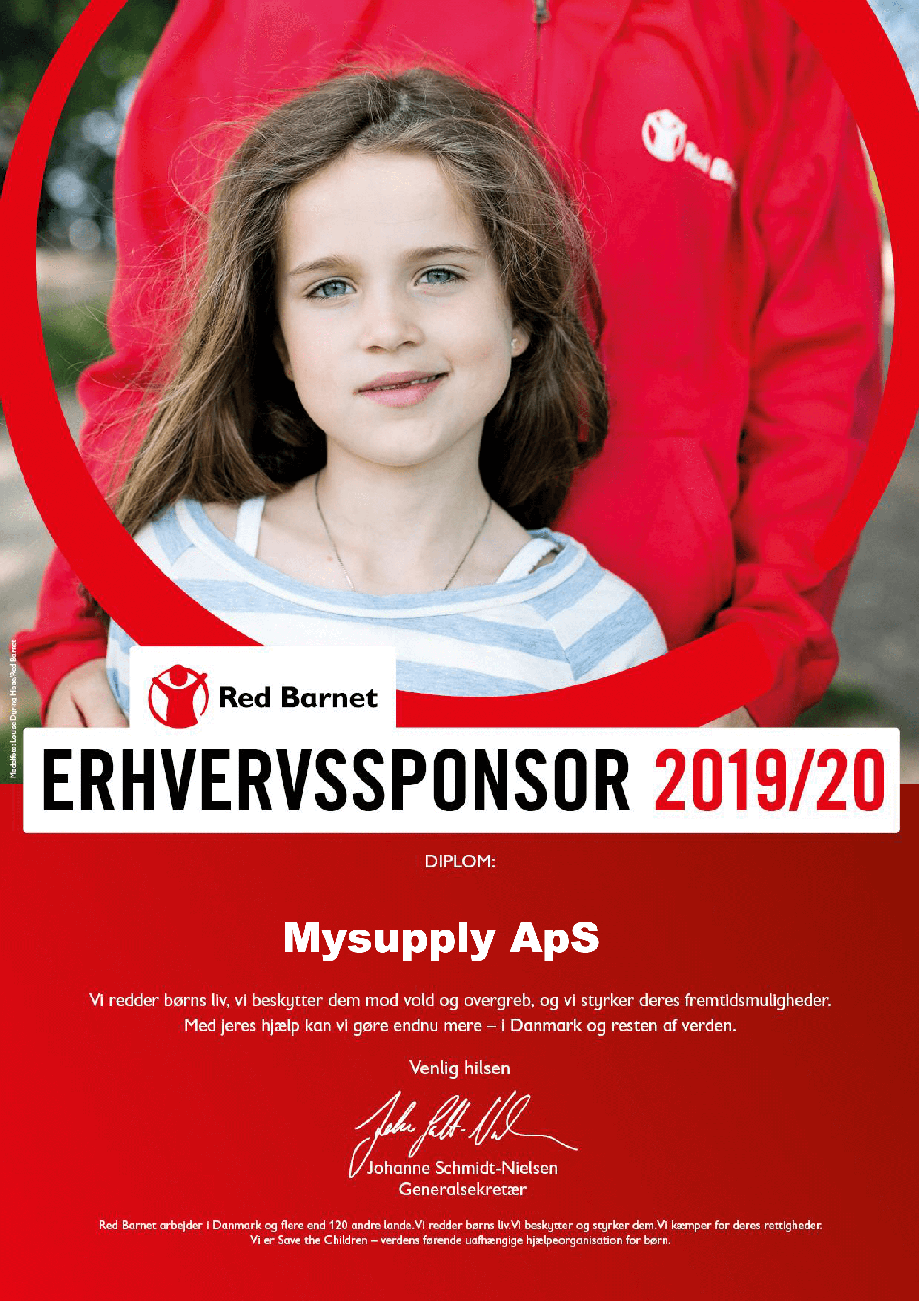 Sponsor for Red Barnet. mySupply bakker op om Red Barnets arbejde