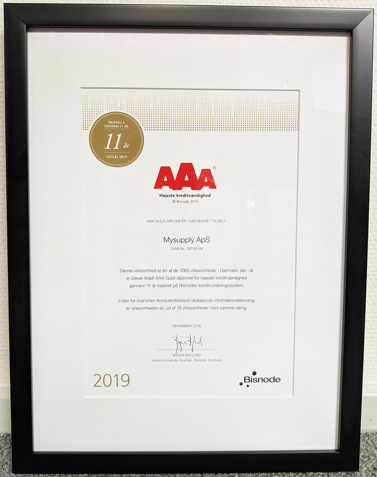 mySupply har fået et AAA guld diplom